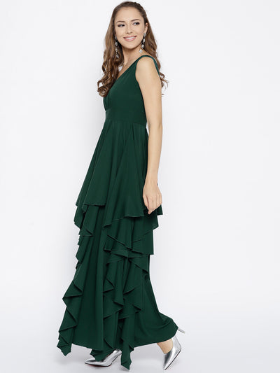 Green Solid Maxi Dress - Berrylush