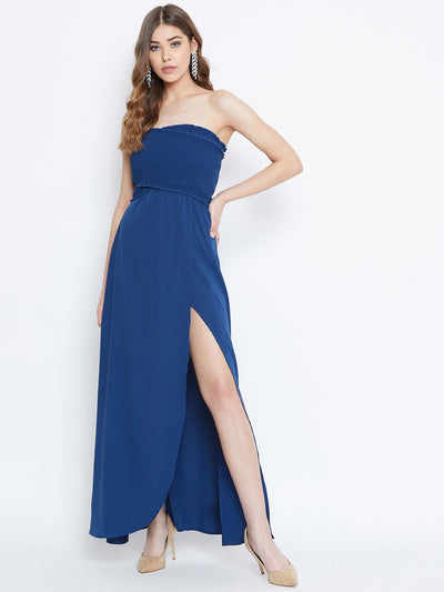 Berrylush Blue Front Slit Smocked Maxi Dress