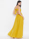 Berrylush Strappy V-Neck Yellow Solid Maxi Dress