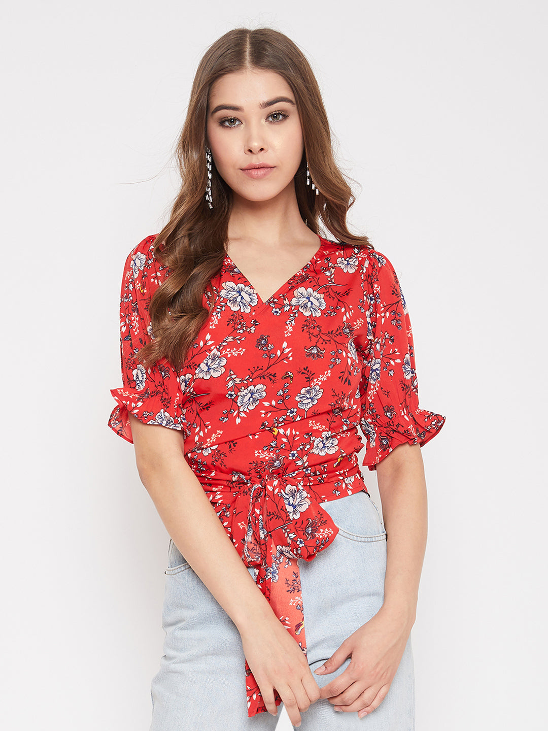 Berrylush Red & White Printed Wrap Top