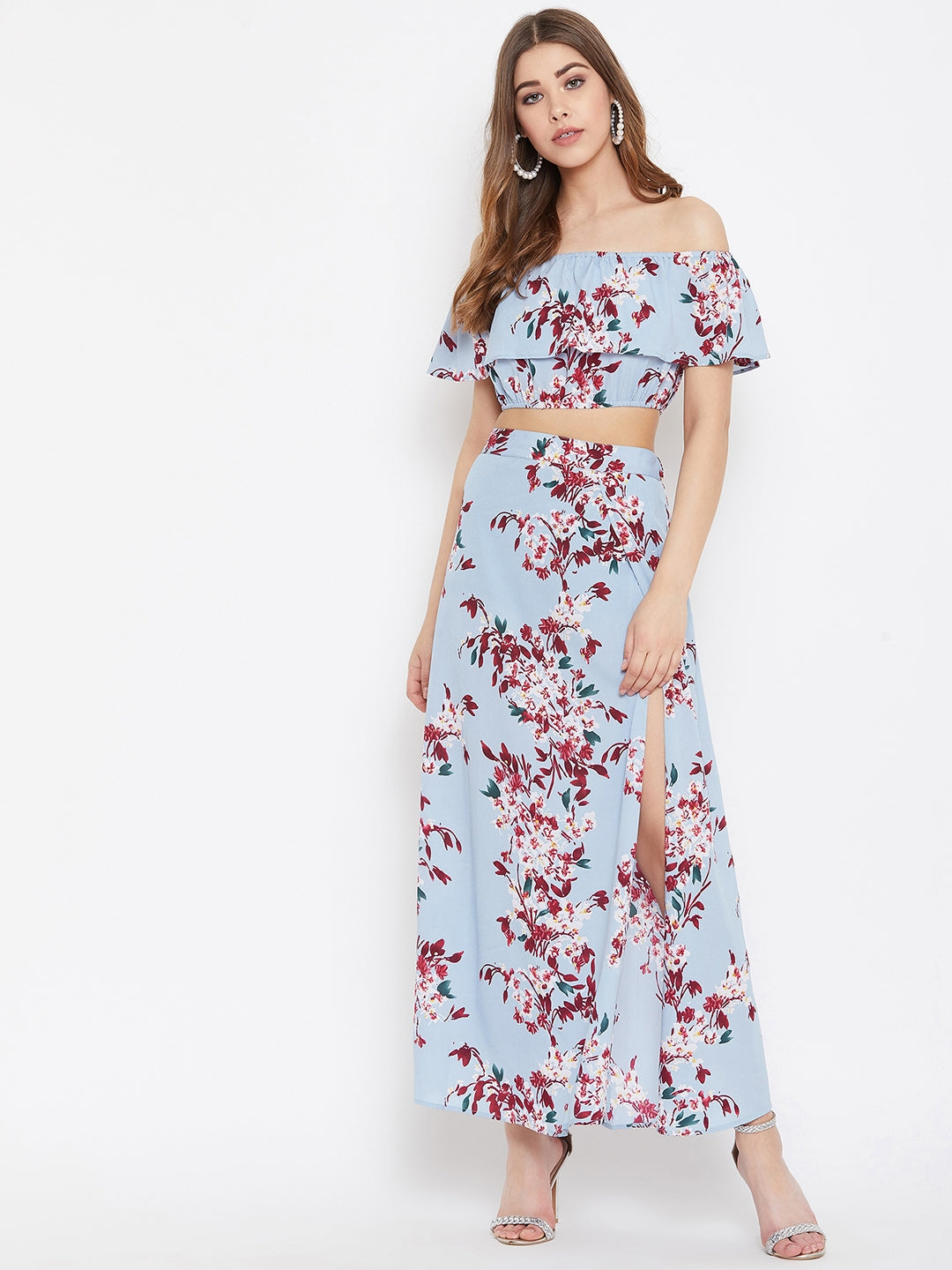 Berrylush Women Blue Floral Print Two Piece Dress