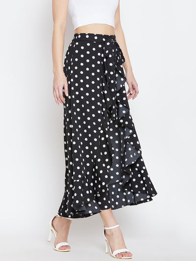 Black & White Printed Flared Maxi Skirt - Berrylush