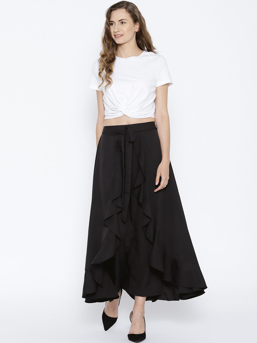 Black Solid Ruffled Flared Maxi Skirt with Attached Trousers