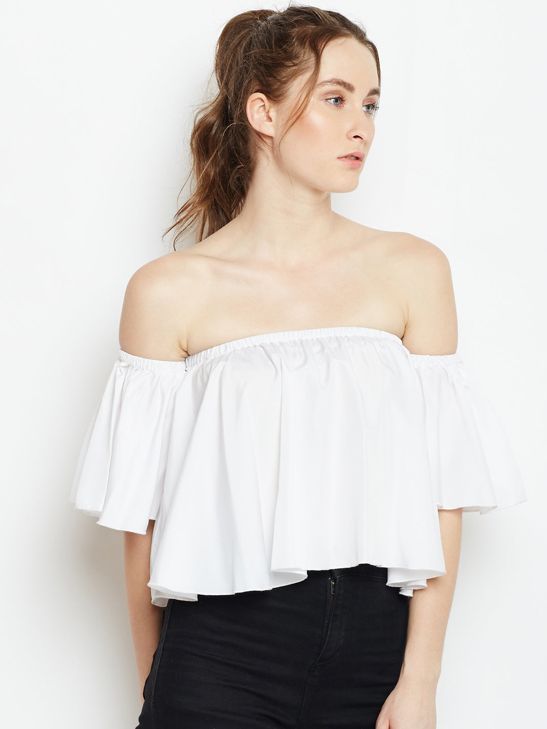 Berrylush Women White Solid Bardot Top