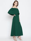 Green Solid Off-Shoulder Layered Maxi Dress - Berrylush