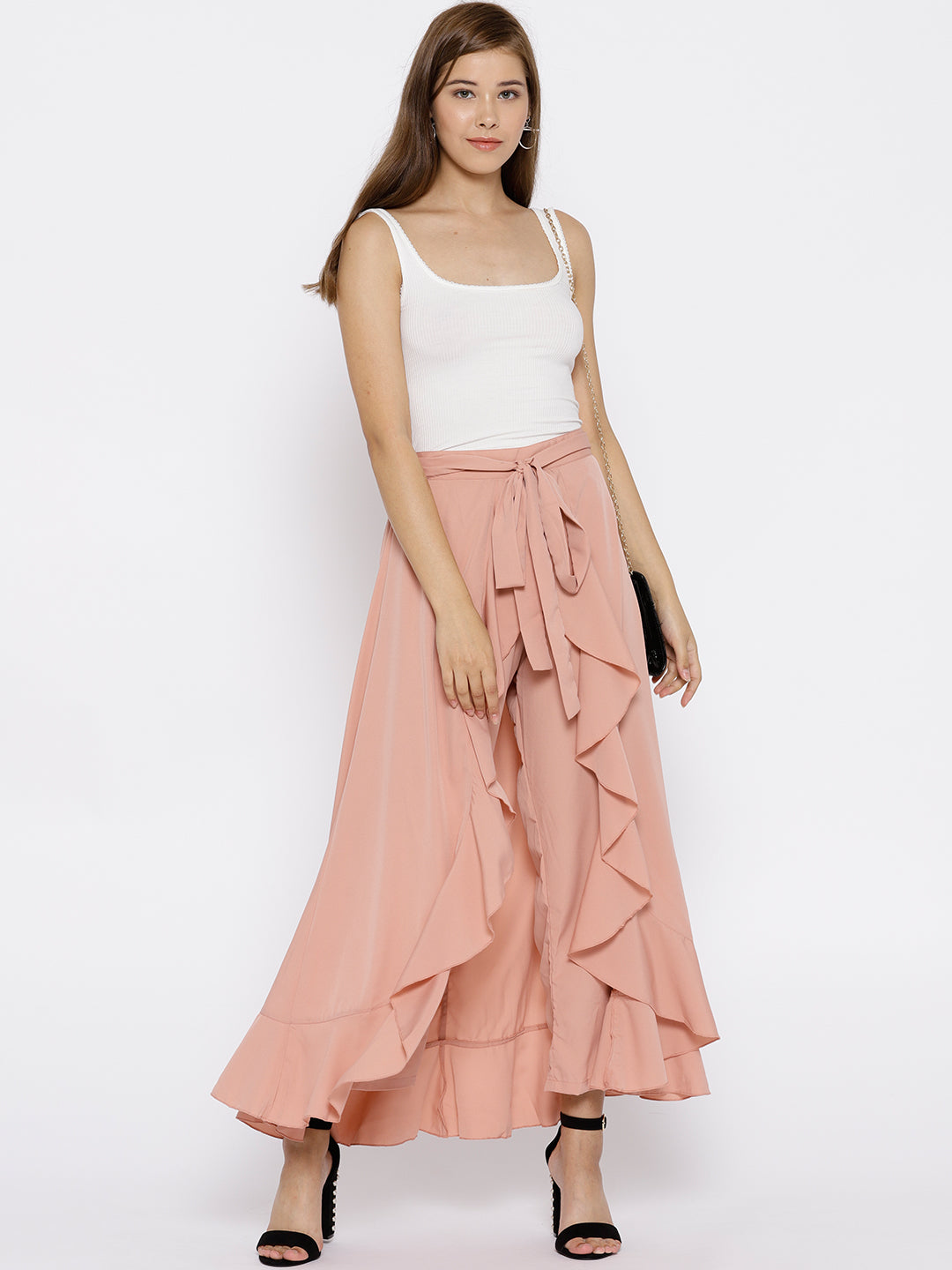 Berrylush Women Dusty Pink Solid Ruffled Maxi Skirt with Attached Trousers