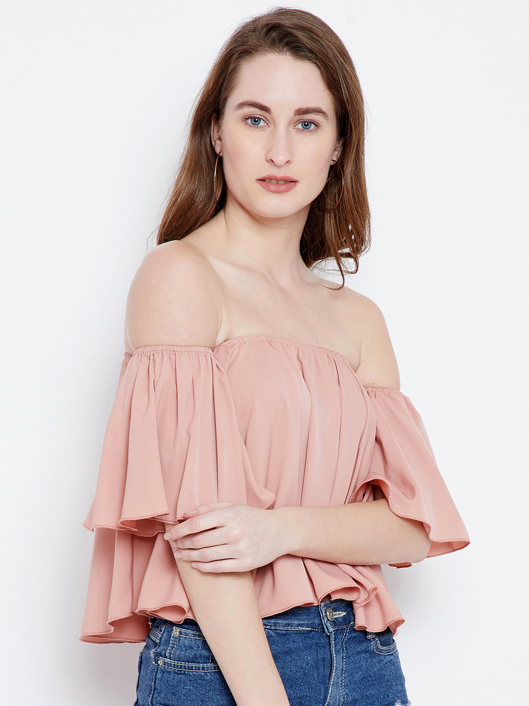 Berrylush Women Pink Solid Bardot Top