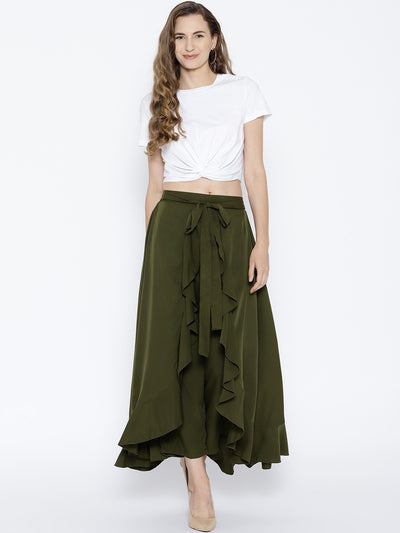 Olive Green Solid Ruffled Flared Maxi Skirt with Attached Trousers - Berrylush