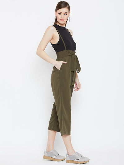 Berrylush Women Olive Green Solid Capri Jumpsuit