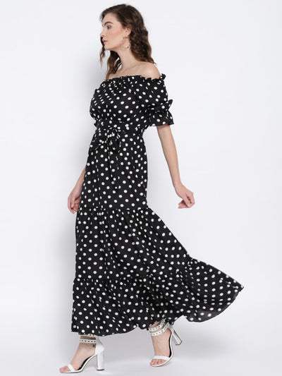 Black & White Polka Dot Off-Shoulder Maxi Dress - Berrylush