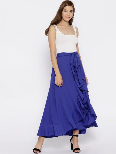 Blue Solid Ruffled Flared Maxi Skirt with Attached Trousers - Berrylush