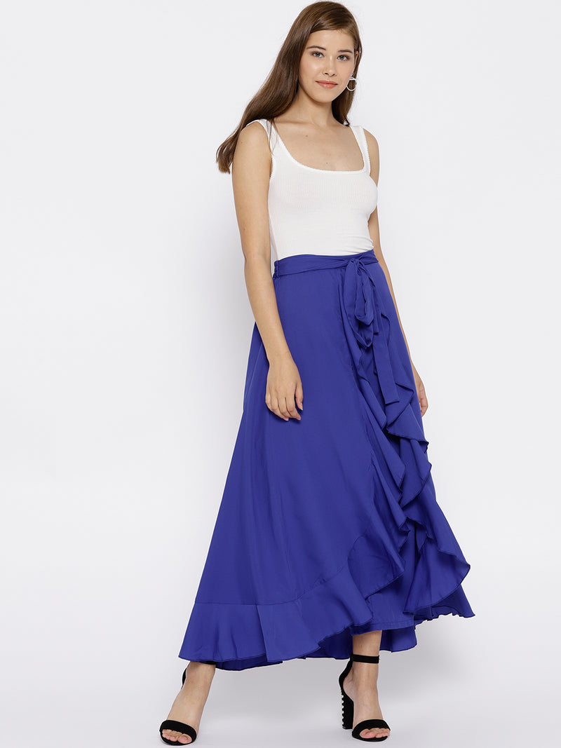 Blue Solid Ruffled Flared Maxi Skirt with Attached Trousers