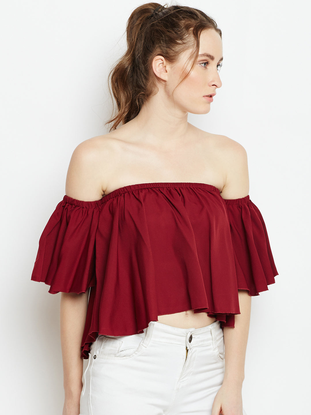 Maroon Solid Bardot Top - Berrylush