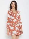 Brown Printed Wrap Dress - Berrylush