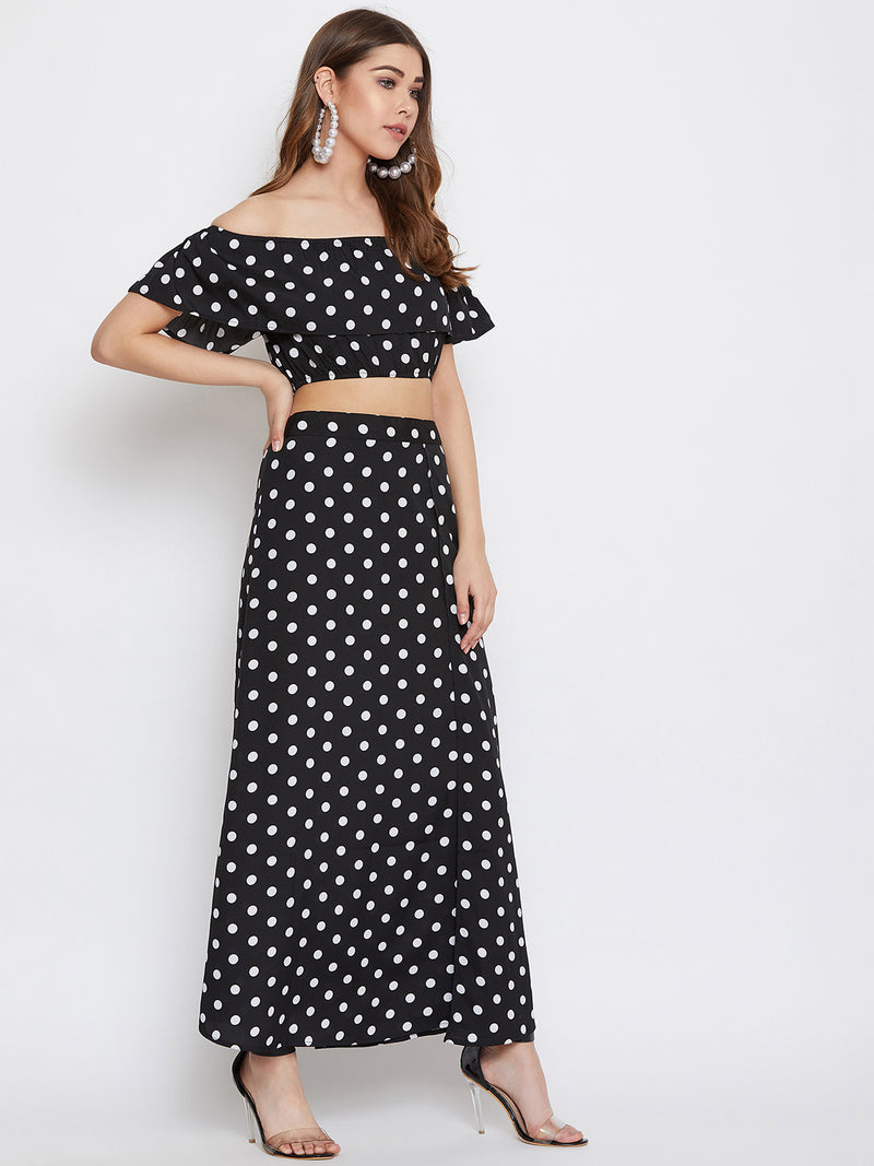 Berrylush Black and White Polka Dots Top with Skirt