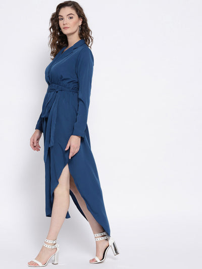 Blue Solid Empire Dress - Berrylush