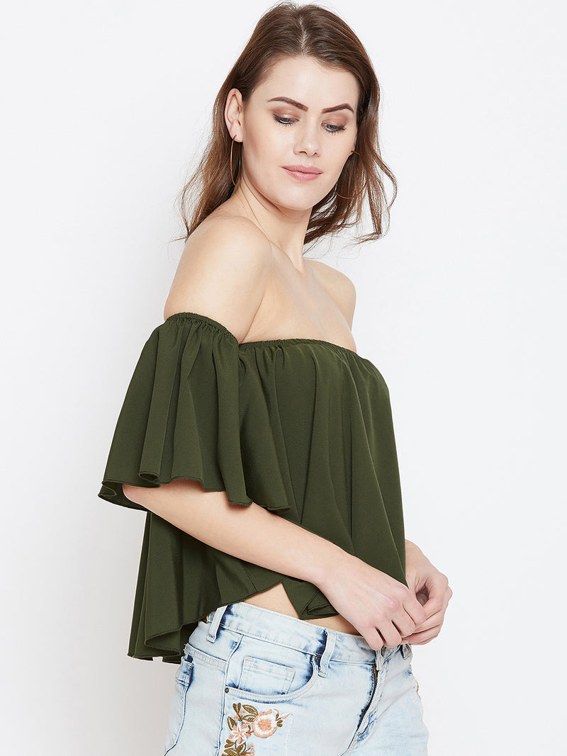 Olive Solid Bardot Top - Berrylush