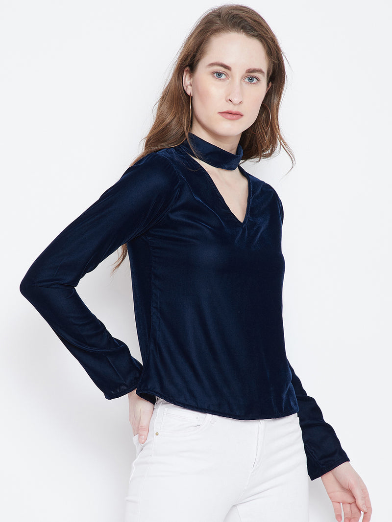 Berrylush Navy Blue Solid A-Line Top
