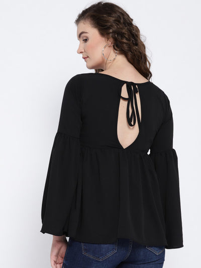 Black Solid Styled Back Top - Berrylush