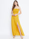Berrylush Women Yellow Front Slit Smocked Maxi Dress