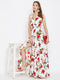 Berrylush Women White Floral Print Maxi Dress