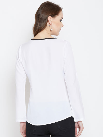 White Solid V-neck Top