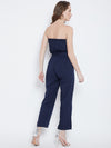 Navy Blue Solid Jumpsuit - Berrylush