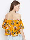 Mustard Printed Bardot Top - Berrylush