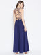 Berrylush Women Navy Blue Stylish Back Maxi Dress