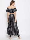 Berrylush Women Black and White Polka Dots Top with Skirt