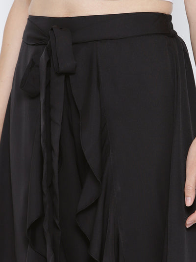 Black Solid Ruffled Flared Maxi Skirt with Attached Trousers - Berrylush