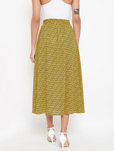 Berrylush Women Yellow & Black Printed A-Line Midi Skirt