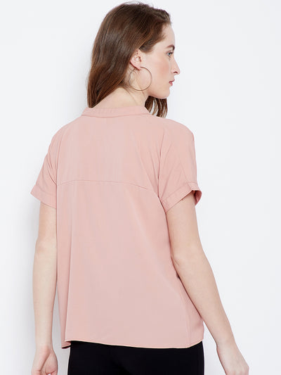 Pink V-neck Solid Top - Berrylush