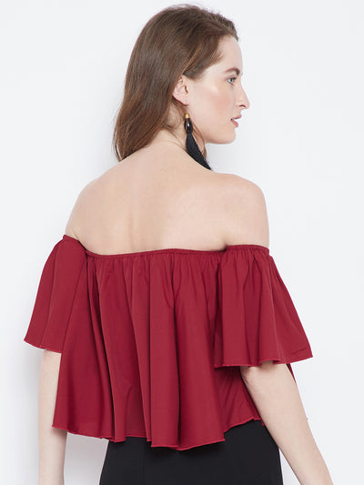 Berrylush Red Solid Bardot Top - Berrylush