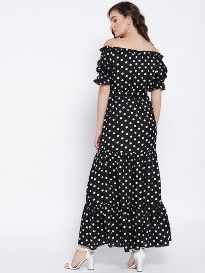 Black & White Polka Dot Off-Shoulder Maxi Dress