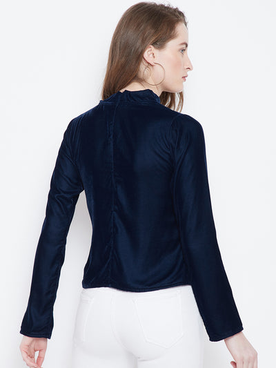 Berrylush Navy Blue Solid A-Line Top - Berrylush