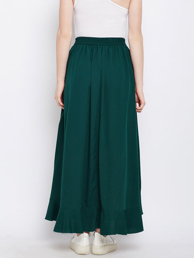 Green Solid Ruffled Wrap Maxi Skirt with Attached Palazzo - Berrylush