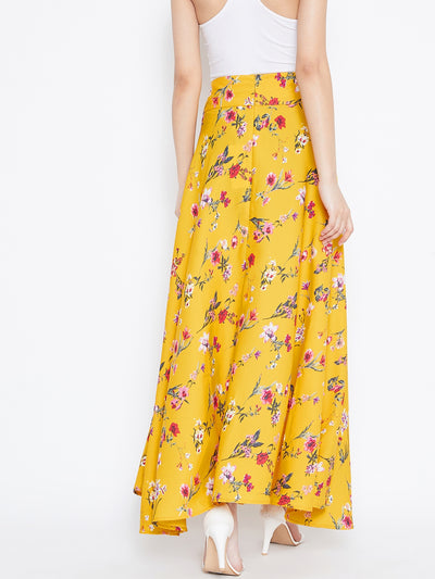 Berrylush Women Yellow Floral Bow Tie Waist Flared Maxi Skirt