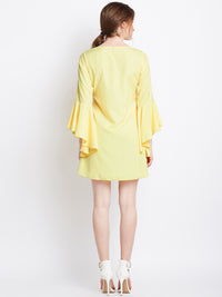 Yellow flare sleeves dress