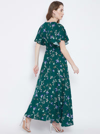 Berrylush Women Green Printed Maxi Dress