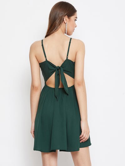 Berrylush Women Green Solid Fit and Flare Dress