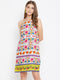 Berrylush Women Multicoloured Printed Halter Dress
