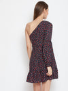 Berrylush Navy Blue Floral Print One Shoulder Asymmetrical Balloon Sleeves Dress
