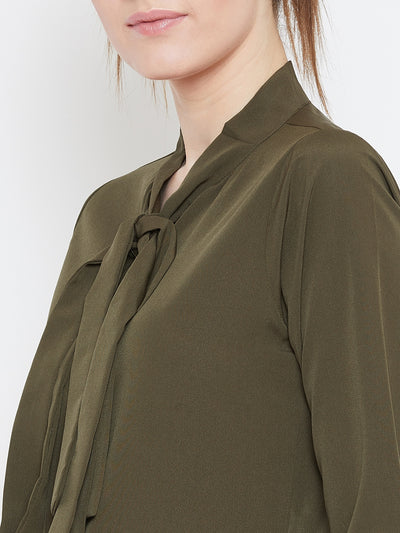 Berrylush Women Olive Green Solid Shirt Style Top