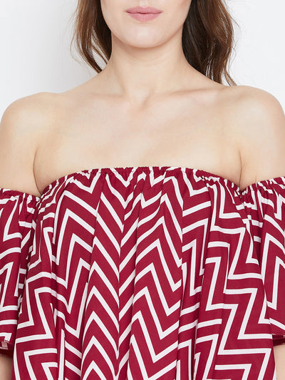 Red Printed Bardot Top - Berrylush