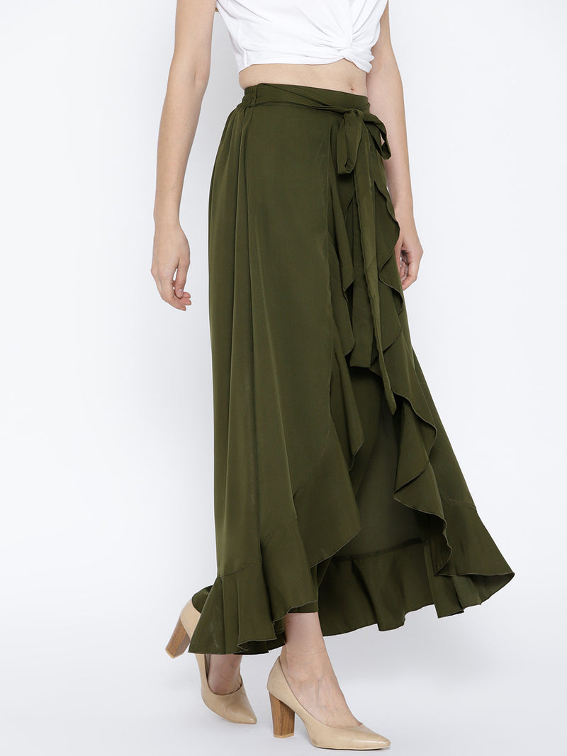 Olive Green Solid Ruffled Flared Maxi Skirt with Attached Trousers