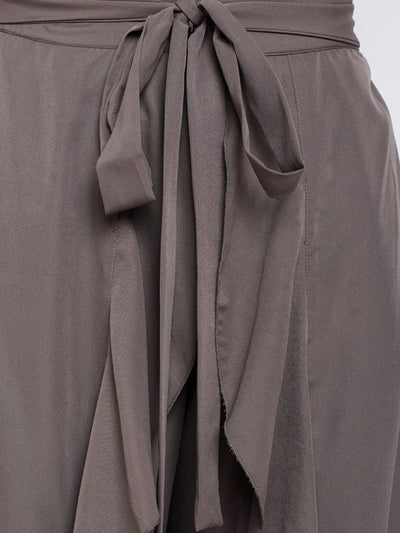 Grey Solid Ruffled Wrap Maxi Skirt with Attached Palazzo - Berrylush