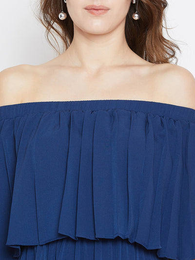 Blue Solid Off-Shoulder Layered Maxi Dress - Berrylush
