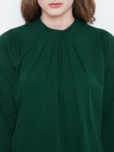 Green Solid Pleated Top - Berrylush