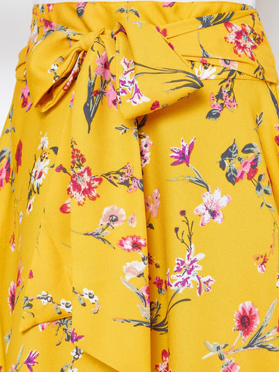 Berrylush Yellow Floral Bow Tie Waist Flared Maxi Skirt